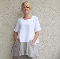 Eco+friendly+linen+white++natural+washed+tunic+by+rubuartele,+$52.00