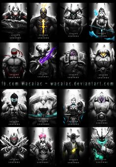 League of Legends -- Black and white portraits