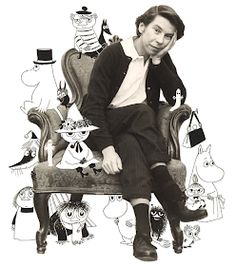 artist Tove Jansson with Moomin characters Tove Jansson, Les Moomins, Moomin Valley, Cartoon Shows, Children's Book Illustration, Artist Art, Helsinki, Collages, Illustrators