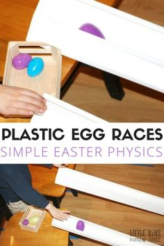 Plastic egg races using plastic Easter eggs. A fun way to explore Easter science and Easter physics with young kids! Rolling eggs to learn about gravity, motion, force, and angles! Eyfs Activities, Early Learning Activities, Nursery Activities, Easter Activities, Spring Activities, Easter Crafts For Kids, Holiday Activities, Activities For Kids, Science Activities