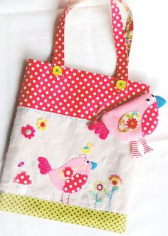 appliqued tote bag with birdies
