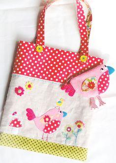 appliqued tote bag with birdies