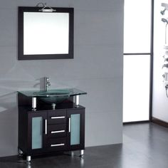 869$ Cambridge 32 inch Glass Single Basin Sink Vanity Set