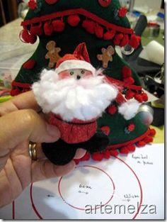 ARTEMELZA - Arte e Artesanato: Papai Noel de fuxico | Santa Claus of yo-yo