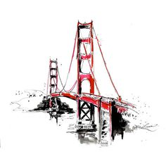 San Francisco Golden Gate Bridge Travel Print from Original Watercolor... (105 BRL) ❤ liked on Polyvore featuring backgrounds, doodles, fillers, illustrations, art, quotes, phrase, saying and text