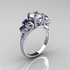 White Gold and White and Blue Sapphires, $1,199.00