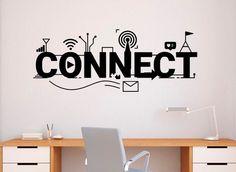 Connect Network Wall Decal Vinyl Sticker Home Office Technology Art Decor Office Wall Design, Office Wall Decals, Office Walls, Vinyl Decor, Vinyl Wall Decals, Wall Stickers, Art Decor, Vinyl Art, Photo Wall Design