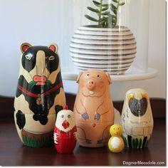 animal nesting dolls, Dagmar's Home, DagmarBleasdale.com #thrifting #vintage #homedecor #animals