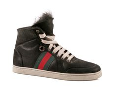 Gucci Coda black leather high-top sneakers with fur inside