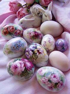 Foam Eggs with one layer of napkin, apply it with PVA glue and seal with same glue! From Linen & Lace - Cleveland
