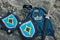 Knight Costume Gift Set GREY and BLUE  Super by TheTreeHouseKid...I'd make myself for Adrian and baby brother could be a dragon!