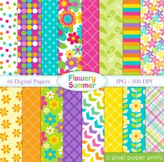 Flowery Summer Digital Papers & Backgrounds