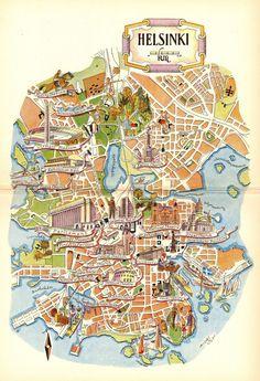 Helsinki Map Art / Helsinki Finland Map Wall Art / Jacques Liozu Art / Vintage Map Print / Finnish G World Travel Decor, World Map Decor, Lappland, Map Wall Art, Map Art, Helsinki, Finland Map, Pictorial Maps, Travel Illustration