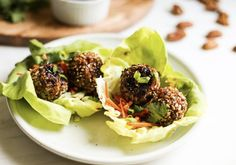 Pecans lend extra crunch and nutrition to these Asian-inspired (and optional Whole30 approved) turkey meatballs. Serve in lettuce wraps, on greens for a salad or make it into a bowl and serve over zucchini noodles. Yum!  #millicanpecanrecipe #millicanpecan #pecans Pizza Nutrition Facts, Cottage Cheese Nutrition, Diet And Nutrition, Pecan Recipes, Healthy Recipes, Healthy Meals, Asian Turkey Meatballs, Appetizer Recipes