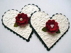 Valentines Embossed Black and Ivory Heart by StephanieMatsunaka, $3.50