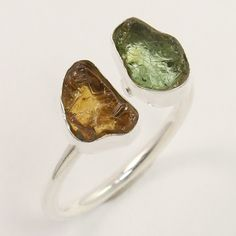 925 Sterling Silver Ring Size UK N Natural YELLOW & GREEN TOURMALINE Gemstones #Unbranded