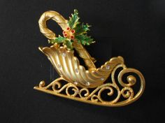 JJ 1970s Christmas Sled BroochPin by 2DamesDesign on Etsy, $21.45