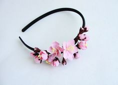 Spring handmade flowers headband!!!! All flowers are made completely by hand from Claycraft by deco - air dry clay that is soft, durable and lightweight, non toxic. Keep it up from water or liquids. The flowers requires careful handling.