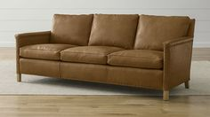 "Trevor Leather 81"" Sofa - Camel | Crate and Barrel"