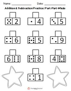 These printables are designed for math centers, independent practice, homework, or for use in small groups. These worksheets will help students with basic addition and subtraction facts, counting on, fact families, subitizing, and automaticity with math facts. Answer keys provided. This product contains 24 worksheets in all. They are divided into three sections: Sums, Missing Addends, and Create Your Own problems.