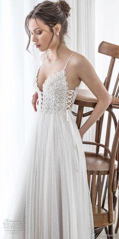 asaf dadush 2017 bridal sleeveless spaghetti strap deep sweetheart neckline heavily embellished bodice tulle skirt romantic sexy soft a line wedding dress corset back sweep train (05) mv