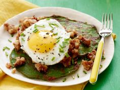 St. Patrick's Day Spinach Pancakes and Corned Beef Hash: These bright green savory pancakes have an incredibly moist, custardy texture, and a fresh oniony bite.