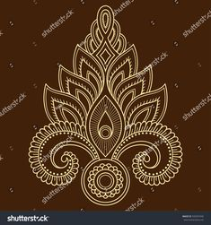 Henna tattoo flower template in Indian style. Ethnic floral paisley - Lotus. Mehndi style. Decorative pattern in oriental style.