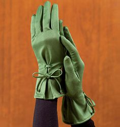 ✂️✂️✂️ A Pair of Hand-made (no pun intended!) Green Silk Gloves with Bows at the Wrists ....