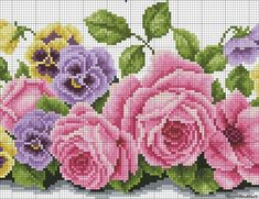 Garlands of roses and pansies - embroider flowers - cross stitch - File Catalog - CHAROVNITSA - a site for and about women