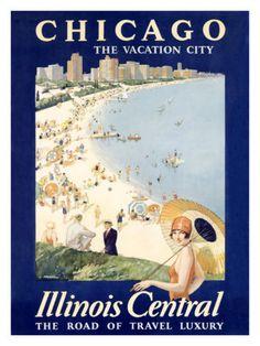 vintage Chicago Lake Michigan beach poster