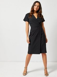 d5591425c23 Petite Black V-Neck Wrap Dress - View All New In - New In -. dorothyperkins .com