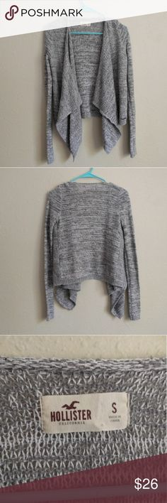 """Hollister open front drape grey cardigan Perfect cardigan for fall! Open drape front. Super soft material. #cardigan #longcardigan #drapecardigan #fall #fallstyle #winter #winterstyle #warm   Brand: hollister Size: small Measurements: chest 18"""" across approx, length 20-24""""  {Please ask for any pictures or measurements. Prices negotiable. I love doing cheap bundles on multiple items together!} Hollister Sweaters Cardigans"""