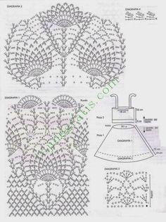TRICO y CROCHET-madona-mía: Vestido a crochet con punto piña con patrón