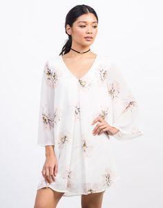 Girls white lace shift dress