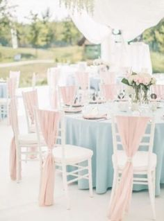 Wedding table setting, textile in colours: Serenity & Rose Quartz Pink Table Settings, Wedding Table Settings, Wedding Table Centerpieces, Wedding Chairs, Wedding Reception, Wedding Decorations, Table Wedding, Chair Decor Wedding, Wedding Ideas