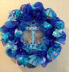 Nautical wreath nautical decorations anchor wreath by WandNDesigns