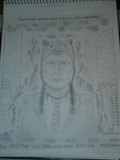 """Stripped Away""  Native American Ancestor Drawing by Me."