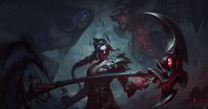 Kayn audaciously wields the sentient darkin weapon Rhaast, undeterred by its creeping corruption of his body and mind.