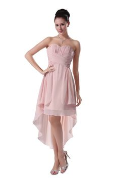Angelia Bridal Strapless High Low Prom Party Bridesmaids Dress (12,Pink )