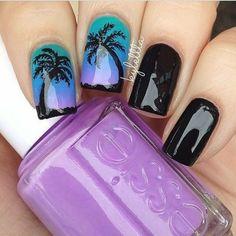 Palm tree nails blue purple green