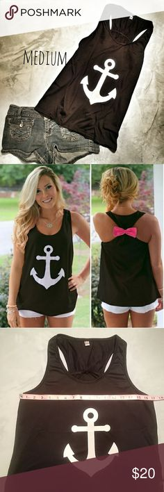 💙Black Anchor Tank with Coral Bow(M) Brand new black razor back graphic tank top. Size Medium. Soft stretchy material. Cotton/Polyester blend. Tops Tank Tops
