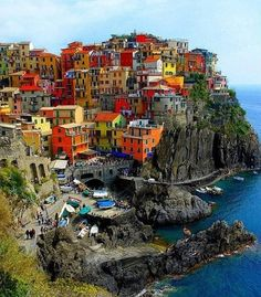 Gorgeous colors of cliffside homes in Riomaggiore, Italy