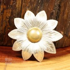 Sterling Silver - MEXICO BC Brass Accent Flower 10.5g - Button TE5021