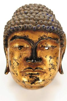 Buddha Mask - Beautiful Asian Antique Carved Gilt wood Mask-NICE!