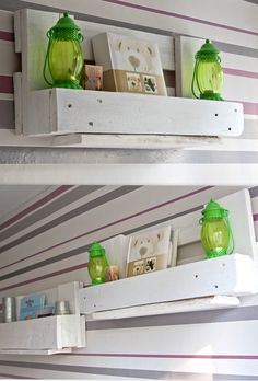 another set of euro pallet shelves for childrens room. possible to decorate the front board with some nice bw pictures of the baby! i'm on it.