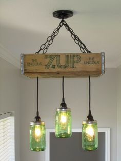 7UP Chandelier  Ceiling Light with Green by OutoftheWdworkDesign, $205.00. for the island!