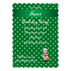 Personalized name italian chef green polka dots personalized announcement