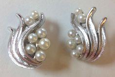 Vintage pearls on silver plume leaf swirl fronds Signed Trifari clip-on Earrings #Trifari #Statement