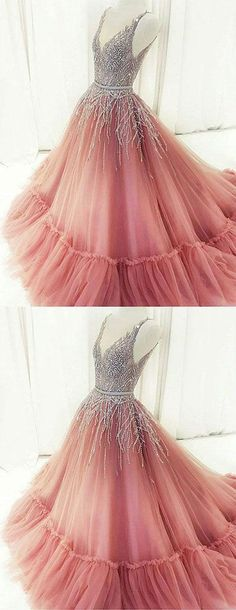 Unique A-Line V-Neck Pink Tulle Long Prom/Evening Dress with Beading