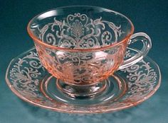 Fostoria Glass Versailles Etched Pink Cup and Saucer